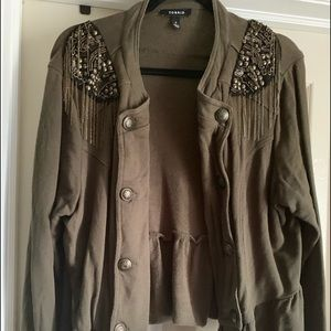 Green embellished shoulder peplum band jacket